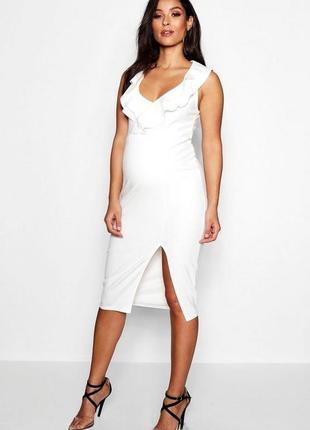 Платье белое миди с завышеной  талией для беременных Boohoo