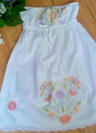 Летнее платье детское с вышивкой га 8-10 лет