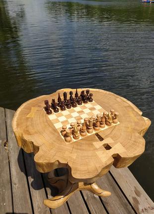 Унікальний дубовий Шахматний стол стіл ручної роботи (журнальний