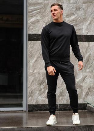Черный мужской спортивный костюм - свитшот и штаны (весна-осень)