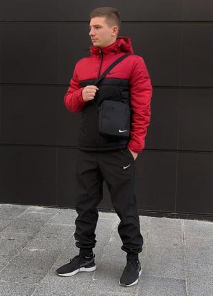 Ветровка анорак красно чёрный найк, nike + штаны + подарок бар...