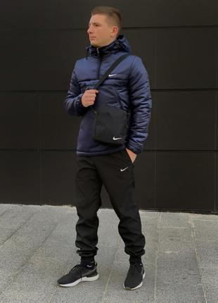 Ветровка анорак синий найк, nike + штаны + подарок барсетка