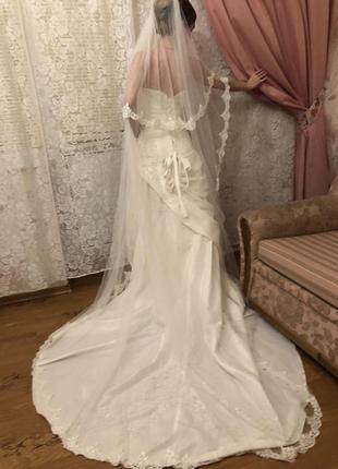 Свадебное платье mori lee со шлейфом, 8-10р.