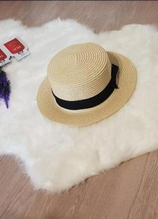 Солнцезащитная соломенная летняя женская шляпа канотье с бантиком