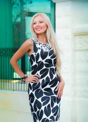 Платье со стразами «чёрно-белые листья» индиано
