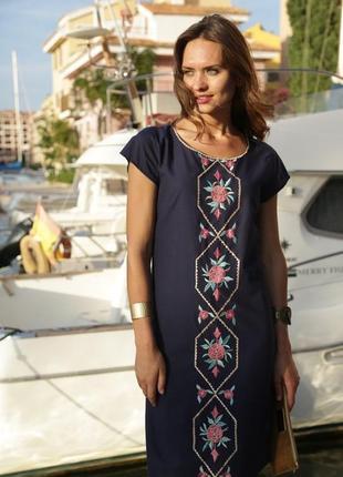 Распродажа платье летнее тёмно-синее с цветочной вышивкой