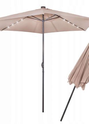 Зонт садовый с LED подсветкой Springos автономная бежевый 300 см
