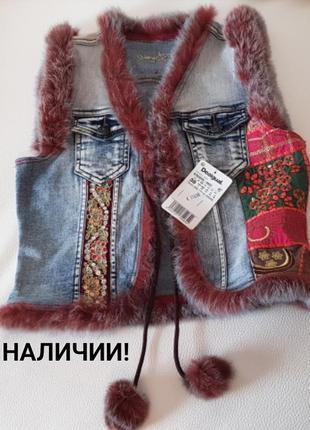 Джинсовая жилетка куртка с натуральным мехом desigual оригинал...