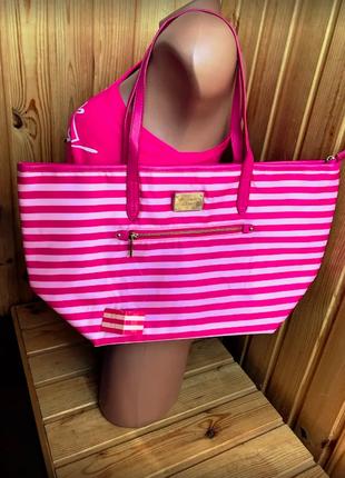 Пляжная полосатая сумка виктория сикрет