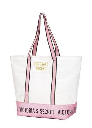 Пляжная белая сумка виктория сикрет с блеcтками