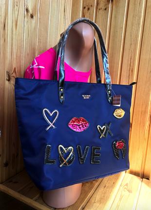 Пляжная либо спортивная, для фитнеса сумка с пайетками love ви...