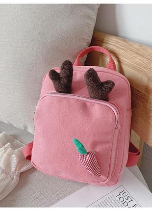 Детский рюкзак, розовый. бемби и морковочка.