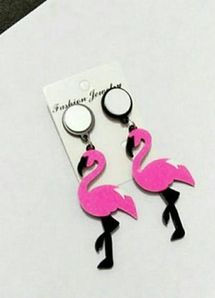 Серьги акриловые ,,Фламинго,, , ярко-розовые с мелкими блестками