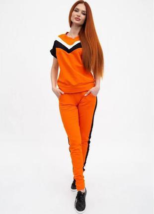 Оранжевый костюм женский футболка и брюки 102r048