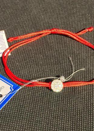 Красная нить браслет оберег россыпь шелк серебро 925 пробы