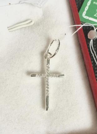 Новый родированый серебряный подвес крестик куб.цирконий сереб...