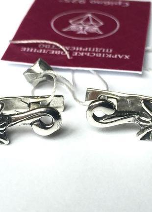 Новые серебряные серьги кошечки куб.цирконий серебро 925 пробы
