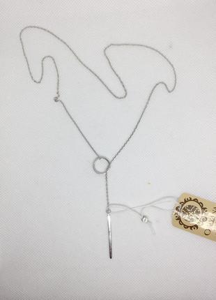 Новое родированое серебряное колье 50 см якорка серебро 925 пробы