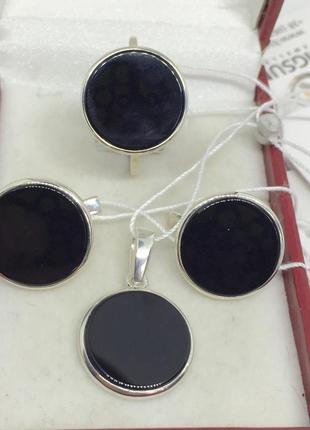 Новый красивый серебряный набор оникс серебро 875 пробы