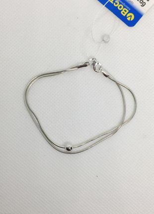 Новый родированый серебряный браслет шарик 17,0 18,0 см серебр...