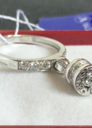 Новое родированое серебряное кольцо куб.цирконий серебро 925 п...