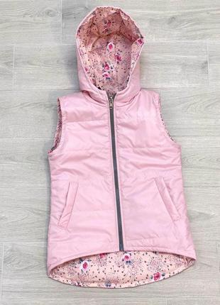 Детская жилетка на девочку розовая