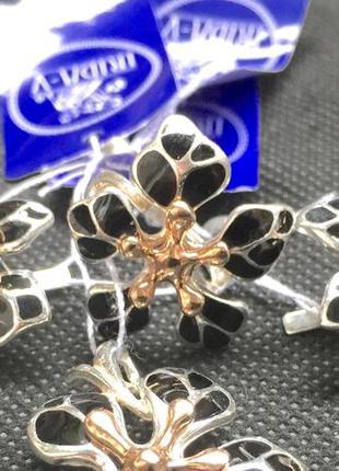 Шикарный серебряный набор эмаль позолота серебро 925 пробы