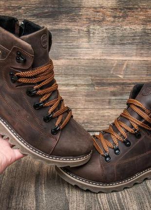 Ботинки кожаные зимние cat rider nubuck brown