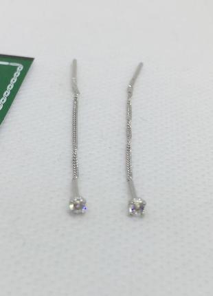 Новые родированые серебряные серьги протяжки 2,5 мм серебро 92...