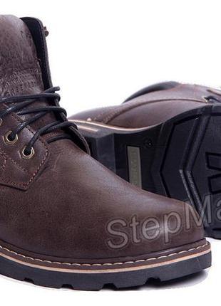 Ботинки кожаные зимние на меху wrangler aviator brown