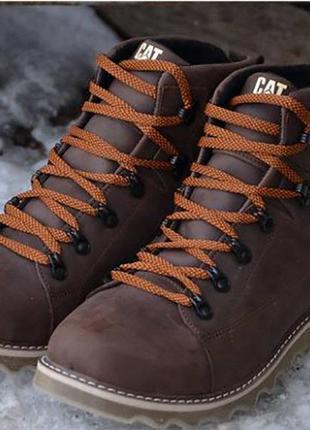 Ботинки кожаные зимние cat expensive brown