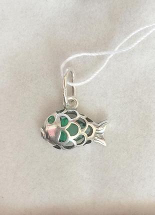Новый красивый серебряный подвес рыбка куб.цирконий серебро 92...