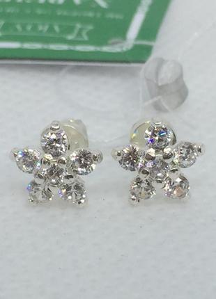 Новые красивые серебряные серьги гвоздики куб.цирконий серебро...