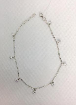 Новый родированый серебряный браслет на ногу 25,0-29,0 см сере...