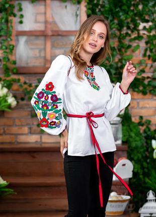 Шикарная блуза-вышиванка вышивка на домотканом полотне