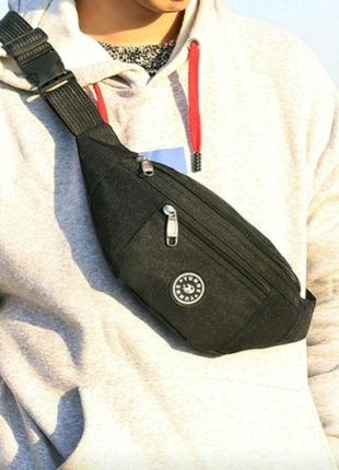 Бананка мужская черная тканевая поясная сумка через плечо
