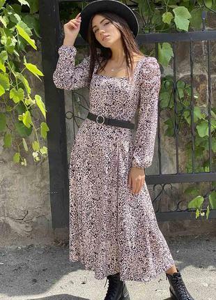 Платье длинное с рукавами фонариками