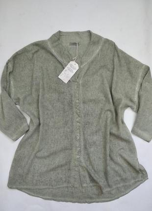 Женская рубашка большой размер в составе лён