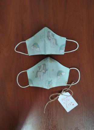 Единороги маски детские защитные для лица многоразовые