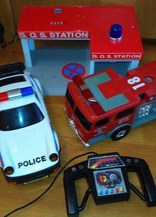 Пожарная машина, полицеская, станция, игрушки для мальчика
