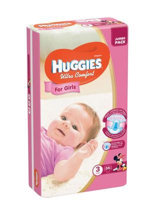 Подгузники Huggies ultra comfort 3/56 для девочек