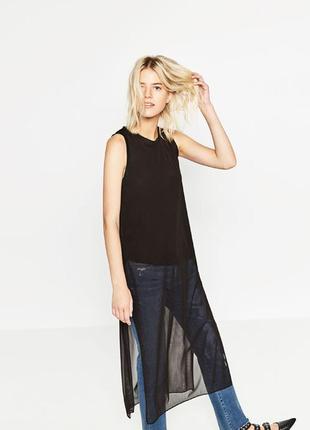Длинная шифоновая блуза туника топ  с разрезами по бокам