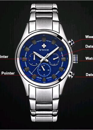 Мужские кварцевые часы WWOOR водонепроницаемые/стальной браслет