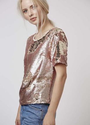 Блузка с пайетками,большой размер, topshop