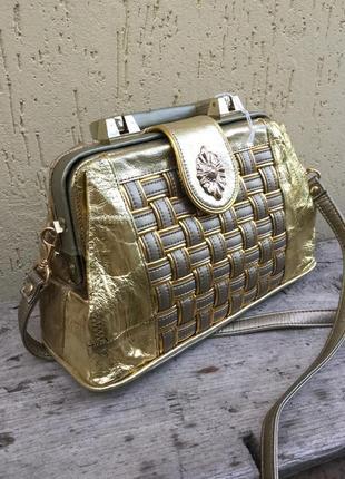 Винтаж,эксклюзив,золотая сумка,ридикюль,саквояж,бочонок,кожа