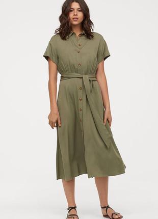 Платье-рубашка-хплат в стиле сафари,цвет хаки из вискозы