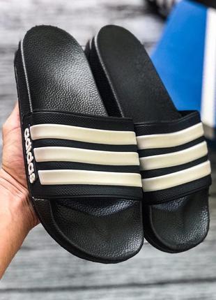 Шлепанцы черные с 3 полосками шлепки тапки сланцы