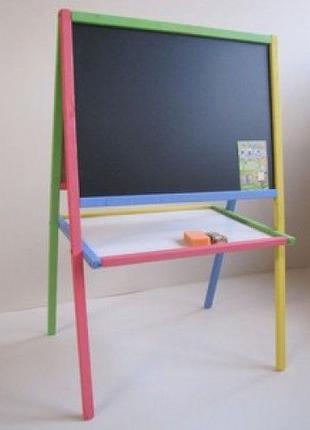 Мольберт детский магнитный двухсторонний, доска для рисования+...
