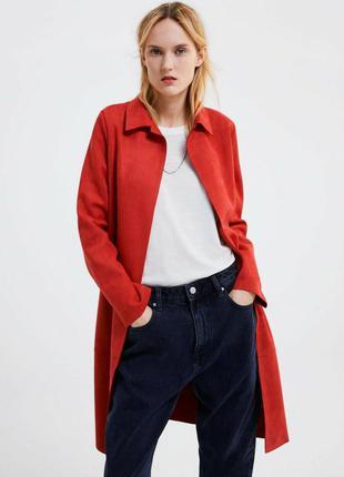 Легкое пальто кардиган иск. замша zara xl--50-52 размер.