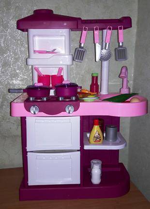 Игровая детская кухня 889-3, плита, посуда, продукты со звуковыми